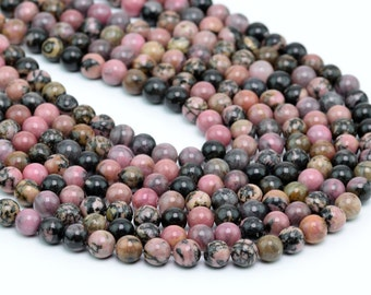 "4MM Rhodonite Natural Gemstone Round Shape Full Strand Loose Beads 15.5"" (100064-257)"