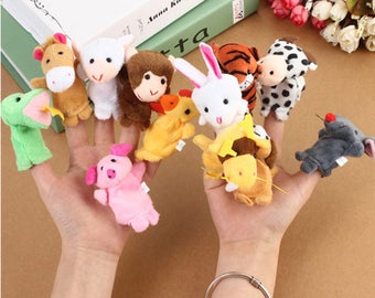 12 Animal Finger Puppets Cloth Doll Baby Educational Hand Toy
