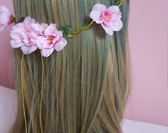 Pink cherry blossom flower crown