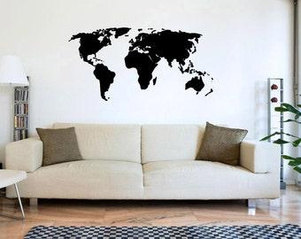 WORLD MAP Wall Decal Interior Design Sticker Living Room Bedroom