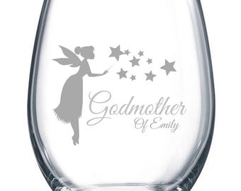 Personalized Godmother Gift, Wine Glass with Fairy Godmother Design, Elegant Will You Be My Godmother Gift, Godmother Wine Glass