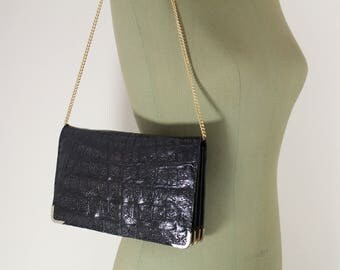 Small Vintage Black Exotic Leather Handbag