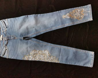 Hand Painted Jeans - Golden Glory