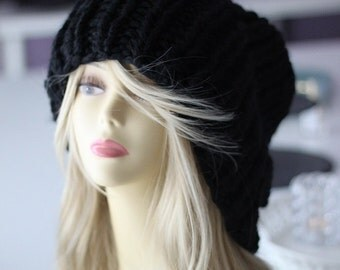 Super chunky chunky knit Cape Hat angora mohair