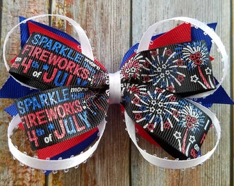 Forth of July Bow, 4th of July, Bow, Hair Bow, Firework Bow, Firework