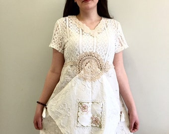 Boho Dress upcycled Clothing, Gypsy Clothing, Upcyled Recycled Repurposed Clothing, Handmade Womens Clothing Top Tunic Clothes Dresses
