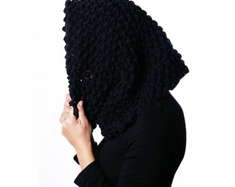 Cotton Snood in Black | Oversized Snood | Hand Knit Snood | Cotton Cowl | Loop Scarf | Women's Neck Warmer | Men's Neck Warmer