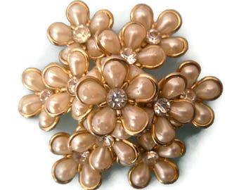 vintage signed Coro flower rhinestone brooch