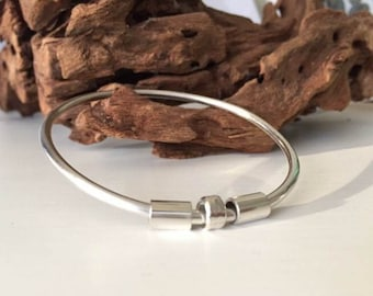 Sterling Silver Bangle with Silver Tubes & Curl