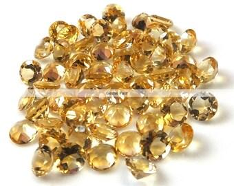 10 pieces 5mm citrine faceted round gemstone - natural citrine round faceted -  yellow colored citrine loose gemstone faceted citrine