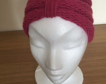 Raspberry Color Turban Style Head Band/Ear Warmer For Ladies/Teenagers