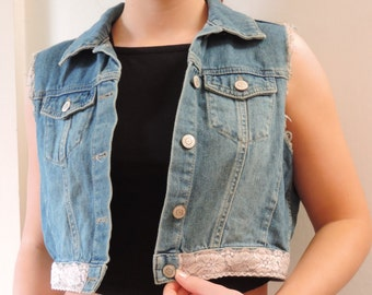 Upcycled denim cut off jacket with peach lace  trimmed  edge size 10 -12