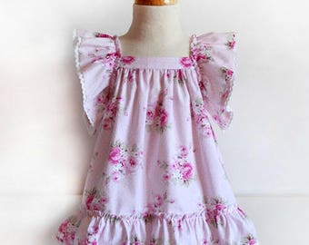 Floral dress with ruffles in sleeves Sun DRESS for baby babies toddler girls PDF Sewing PATTERN + Youtube Tutorial **size 1 to 12 years**