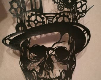 Steampunk skull,  papercut,  silver,  gold, unframed,  steampunk,  top hat,  handcut,  A4 size