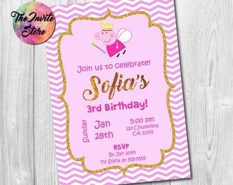 Peppa Pig Invitation, Peppa Invite, Peppa Pig Invite, Peppa Pig Party, Peppa Pig Card, Peppa Pig Birthday, Printable, Digital, AB-001