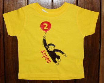 Personalized Curious George Birthday Shirt, Toddler, Birthday, Monkey