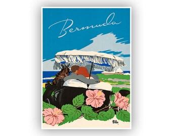 Bermuda Travel Poster, Vintage Tourism Print, Retro Home Decor, Mid Century Art