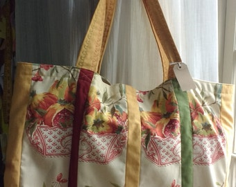 Quirky Fruit Basket Patchwork Beach/Tote Bag with inside zip pocket