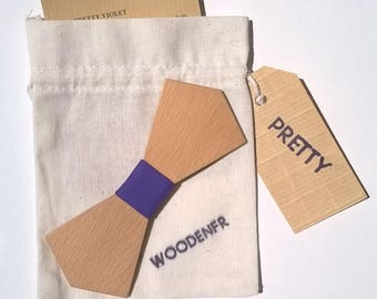 Bow tie made of beech wood, coated with a purple cotton fabric. New PRETTY collection.  Father's day. Dad gift