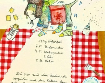 Cold dog - illustrated recipe postcard