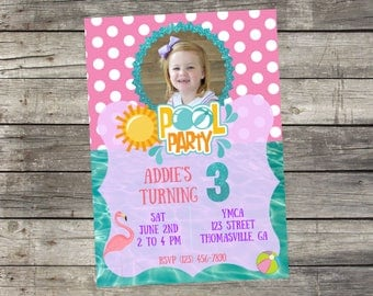 Personalized Pool Party Birthday Invitation- Digital File Only- DIY 5x7