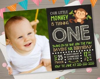 Monkey Birthday Invitation with Photo Monkey Invitation Monkey 1st Birthday Safari Birthday Invitation Jungle Birthday Invitation Chalkboard