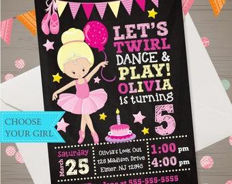 Ballerina Birthday Invitation Ballerina Invitation Chalkboard Ballet Invite Ballerina Party Tutu Birthday Party Dance Party CHOOSE YOUR GIRL