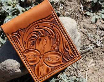 Tooled Wallet, Leather Wallet, Personalized Leather Wallet, Front Pocket Slim Design, tooled Credit Card Wallet, Mens gift, mens wallet