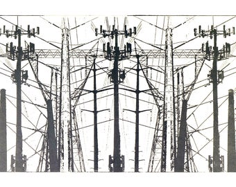 Transmission Lines - Original Woodcut Print - Gray Ink on Stonehenge White Acid-free Paper