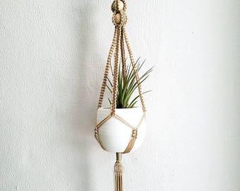 Plant Hanger - Macrame Plant Hanger - Tan Hanging Planter - Wood Ball