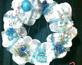 White and Bright Blue Christmas Wreath