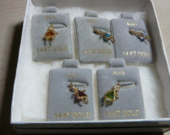 14 kt Yellow Gold Girl Synthetic Birthstone Charms / Pendants