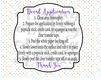 Decal Instructions Etsy - Custom vinyl decal application instructionscare card printable care card instructions printable care