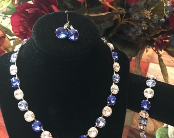 12mm Swarovski Crystals in Sapphire, Crystal and Light Sapphire