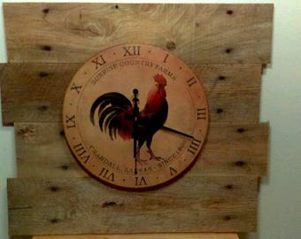 Rooster wall clock, very large, barn wood, country, farm. rustic, one of a kind, artist made
