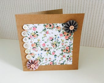 Hand/ home made blank floral occasion/greeting card