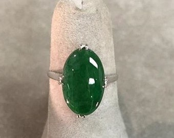 Fine Natural Jadeite Ring in Platinum- Certified Untreated Jade Report by Mason Kay