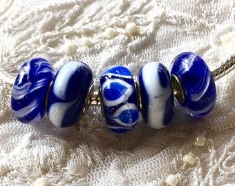 5 Murano Glass Beads Set, Lampwork Glass, Large Hole Glass Beads, Euro Charm Bracelet Beads