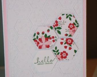 Hello Sweet Friend Floral Card