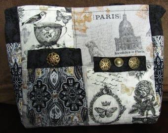 Hand-made Paris vintage Victorian black and white purse