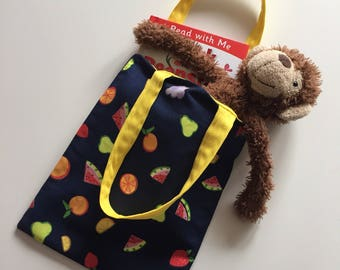 Junior tote bag - childs cotton bag - kids shopping bag - cotton printed tote bag - party favour - toddler gift - gift for girls
