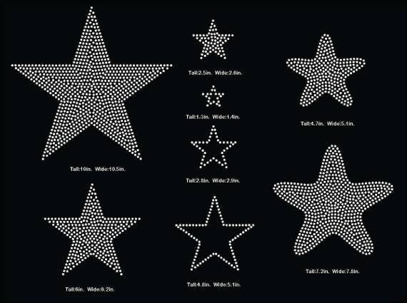 Stars Star Rhinestone Template V Tail 3 Inch Rhinestone