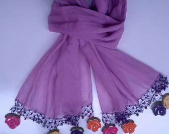 ON SALE !!     Handmade Cotton plain color or Turkish yemeni design needlelace scarf