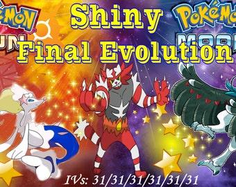 Shiny Decidueye, Incineror and Primarina +Items  6IV and EV Trained [Sun and Moon]