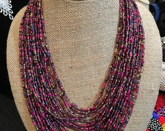 Multi-layer necklace; colorful necklace; beaded necklace