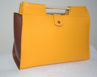 Bag Lili Wild saffron yellow handbag leather full grain