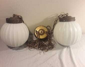 1960s Frosted Glass and Brass Hanging Light Fixture