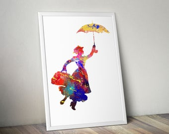 Disney Mary Poppins Watercolor Poster Print, Watercolor Painting, Watercolor Art, Kids Decor, Nursery Decor