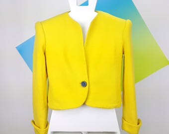 80s Vintage Cropped Jacket David Hayes Yellow
