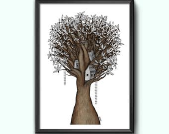 Tree City Houses Art Illustration Print